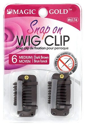 Snap on Wig Clip (M) 6pcs #Dark Brown